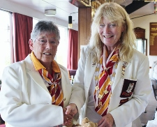 Jean Williams Receiving Colt Badge from Di Medhurst 225x182