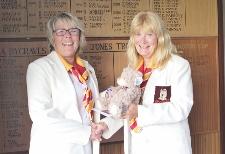 Sharon Keal being presented with Blazer Badge by President Di Medhurst 225x154